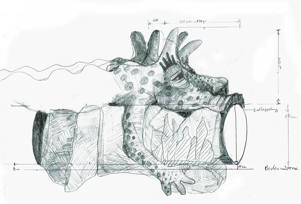 scan Zeichnung Tier vorne